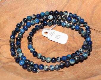 "16"" Strand of 4mm Smooth Round Impression Jasper ***Dyed Dark Blue Beads #10"