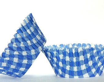 50pc Standard Size Blue Gingham/Plaid Baking Cup With Greaseproof Liner