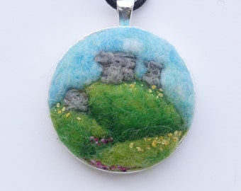 Dartmoor landscape felted and embroidered pendant no1