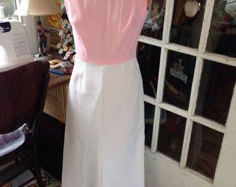 60's pink cotton and white cotton pique maxi dress
