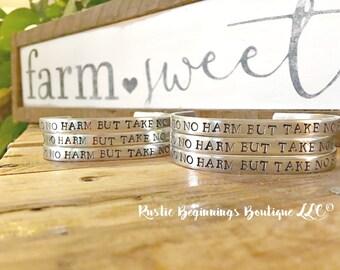 FREE SHIPPING, Do No Harm But Take No Shit, Do No Harm Hand Stamped Cuff, Hand Stamped Cuff, Hand Stamped Bracelet