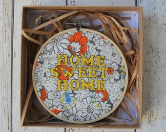 Home sweet home cross-stitch hoop art - yellow floral