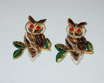 Vintage Owl Patches,  2 Embroidered Owl Patches from 1970's, Sew On Patches, Owl Appliques
