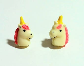 Vintage unicorn earrings kawaii cute plastic pink yellow