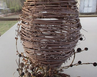 Handcrafted Wicker Bee Hive Decoration