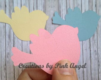 12 Small or Large Bird Cutouts, Bird Die Cuts, Pink Blue Ivory Lavender Bird Cut Outs, Well Wishes Baby Banner or Garland, Paper Cutouts