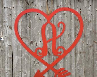 Valentine's Heart Monogram Wooden Cutout | Door Hanger Initial | Wooden Monogram | Initial |  Home Decor | Cupid Heart Monogram |