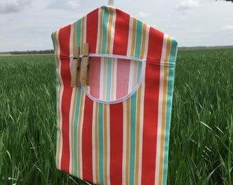 Canvas Mint Stripe Clothespin Bag, Peg Holder, Laundry Line Bag, Laundry Accessory