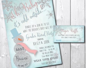 Winter Gender Reveal Party Invitation with Matching Diaper Raffle Ticket/DIGITAL FILES/printable/wording can be changed/snowflake, glitter