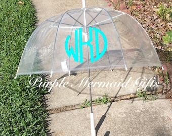 Monogrammed Clear Dome Umbrella, Adult, Women, Monogram, Bubble, Rain Gear, Personalized, Spring, Summer, Large, Monogram, Umbrellas, Gift