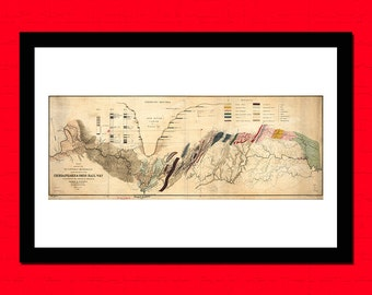 Old Map of Chegapeake And Chio Rail Way Old map Art Reproduction Office decoration Vintage Retro Map Reproduction Vintage Mapt