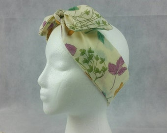 Vintage floral and foliage headwrap, upcycled vintage, head tie, Rosie wrap