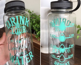 Drink Your Effing Water Water Bottle, Wide Mouth Water Bottle, Clear Bottle, 34oz, Inspirational, Water Intake Tracker, Drink Up, Water Goal