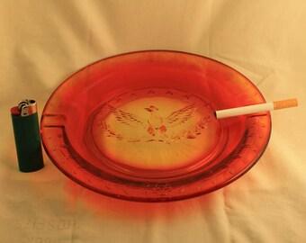 Ashtray Vintage Amberina Glass Ashtray with Raised Eagle Patriotic Design Cigarette Cigar Tobacco Smoker Gift