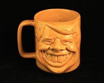 Vintage President Jimmy Carter Caricature Face Mug Cup Glazed Ceramic
