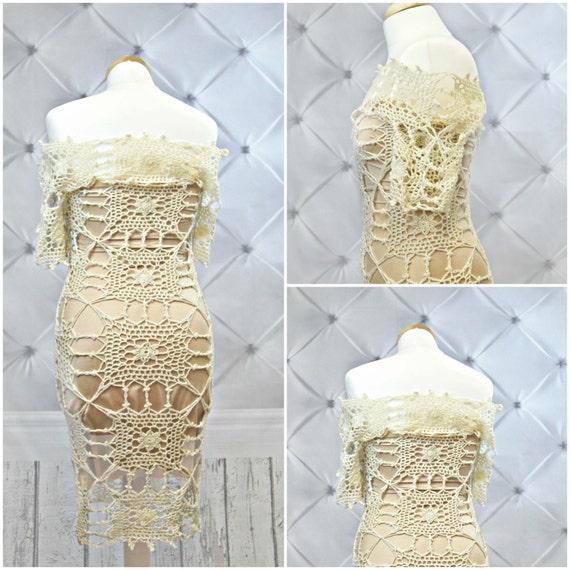Off-shoulder CROCHET Wedding Dress PATTERN.Crochet
