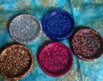 BIGG Coasters ~ Chunky Hologram Glitter in Clear Durable Epoxy Resin - U Choose