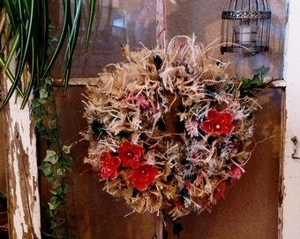 Poppy Flower Wreath, Rag, Burlap, Coffee Sack, Summer, Fall Wreath, Country, Shabby Chic, Rustic, Barn Door, Window, Front Door