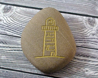 Lighthouse Decor Engraved Beach Rock Pebble Paperweight Beach Stone Art Beach