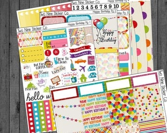 Happy Birthday Deluxe Weekly Kit, Planner Stickers, Birthday Planner Stickers, Birthday Sticker Kit