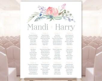 Boho Seating Chart Sign / Vertical Wedding Sign / Blush Flowers, Boho Flowers, Bohemian Greenery ▷ Printable File {or} Printed & Shipped