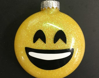 Emoji glitter ornament - smiley face