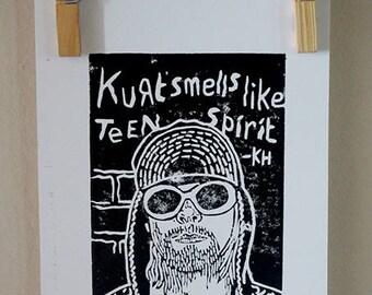 Kurt Cobain Small Linocut Print