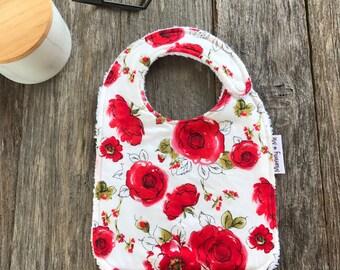 Red Rose / Bandana Bib / Girl Bib / Baby Bib / Dribble Bib / Trendy Bib / Rosette / Roses / Flowers / Floral / Pretty / Thick / Absorbent