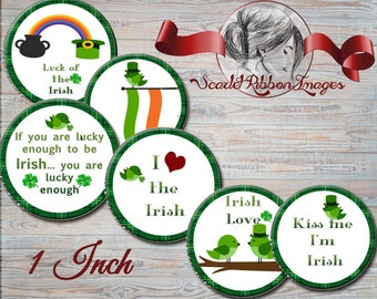 Irish bottle cap St Patrick's Day 1 inch circles - digital collage sheet - bottle cap images, buttons, tags, scrapbooking, cupcake toppers