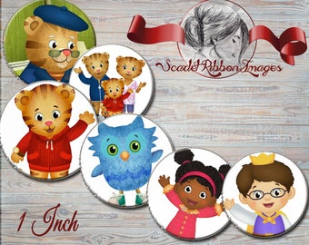 Daniel Tiger  images 1 inch round circles- digital collage- cupcake toppers, stickers, bows, bottle cap images- bottlecap necklaces