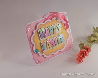 Happy Easter Large Gift Tag, 3D, Single Easter Basket Tag, Easter Bunny Gift Tag, Basket Tag,