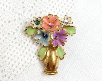 Vintage Pastel Flower Brooch Flowers in Vase Brooch Pastel Flower Bouquet Brooch Golden Vase Brooch