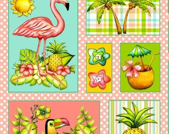 Pink Lady by Blank Quilting - Flamingos Patch - Cotton Woven Fabric