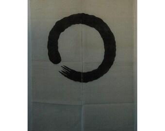 "traditional linen noren, door way curtain. brush circle on beige (AS11) 35""W x 59""L"