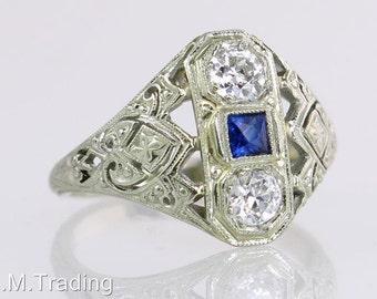 Vintage Antique .80ct Diamond Sapphire 18K Gold Art Deco Engagement Ring 1930's