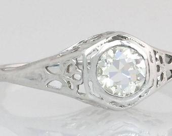Antique Estate Art Deco .45ct Genuine Diamond 14K White Gold Engagement Ring 2g