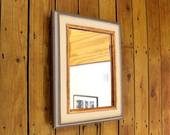 Wooden Wall Mirror. Wooden Mirror Frame. Painted Pallet Wood Mirror. Rectangular, 29x21cm Mirror, 40x31.5cm frame. Two shades of grey.