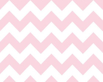 SALE! Full roll, save 40%! FREE domestic SHIPPING use code Freeship20, 10 yards laminated cotton fabric aka oilcloth soft pink/white chevron
