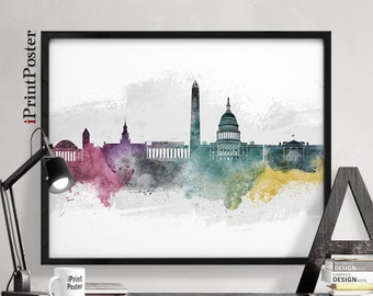 Washington DC poster, Washington DC print, Washington DC watercolour, Wall art, Home Decor, Travel, home decor, city prints, iPrintPoster