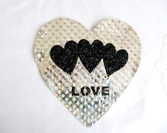 Black Heart Patch,Lame Heart Applique,Light Gold Heart Applique.Sew On heart Patches,Shiny Heart