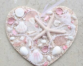 Heart with Shells Sea Shell Heart Wooden Heart Plaque with Shells Beach Heart Sea Shell Decor Heart Decor Beach Wedding Bridal Gift Coastal