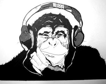 Gorilla Print, Gray, Headphones, Music lover, Gifts under 20, Safari Print, Animal Print, Jungle, Arts, Home Decor, Music love, Motivation