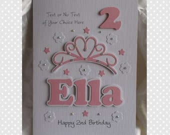 Handmade Personalised 1st -  Any Age Princess Birthday Card Daughter,Granddaughter, God Daughter Niece etc