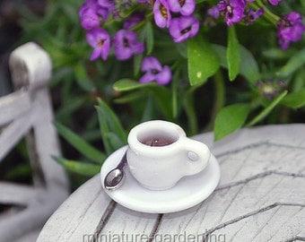 Mini Cup of Coffee for Miniature Garden, Fairy Garden