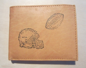 "Mankind Wallets Men's Leather RFID Blocking Billfold w/ ""Football and Helmet"" Image~Makes a Great Gift!"