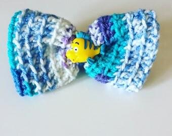 Flounder Hair Barrette ~ Disney Bow ~ Crochet Hair Bow - Hair Clip - Crochet Bow - Children's Bow - Little Mermaid