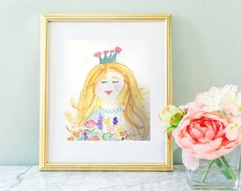 Nursery wall art, Watercolor girl, watercolor princess, flower princess, girl nursery art, fairy tale nursery, blonde princess, wall art