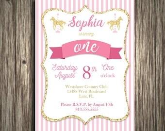 "Carousel Invitation Digital File: ""CAROUSEL INVITATION"" with pink, magenta, gold, glitter, and stripes birthday invitation printable to DIY"