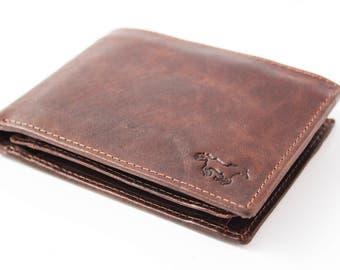 Leather Men's Wallet with RFID-Anti Skimm Protection, secret money pocket and Chain Option