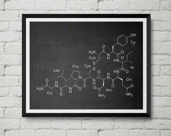Oxytocin Molecule Print - Love Hormone, Neurotransmitter, Chalkboard, Blueprint, Poster, Wall Decor, Wall art, Cool Gift!